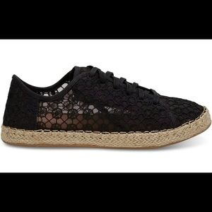 Toms Lena Black Mosaic Mesh lace up Shoes US #9